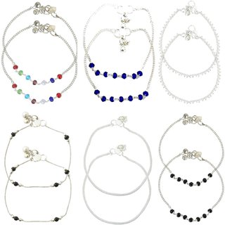 Stunning Beaded Anklets - Set of 6 Pair