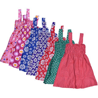 Kavya Baby Girls Cotton Sleevless Printed Frock  (Pack Of 7)