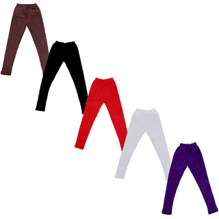 Kavya Baby Girls Cotton Solid Leggings (Pack Of 5)