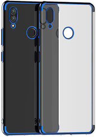 Imperium Ultra Thin Crystal Clear Transparent Cover With Blue Electroplated Edges For Redmi Note 7
