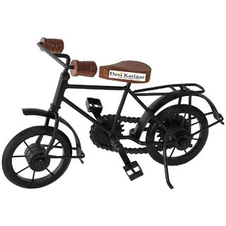 Desi Karigar Wooden  Iron Cycle Antique Home Decor Product ( Black, 10 x 7 Inch )