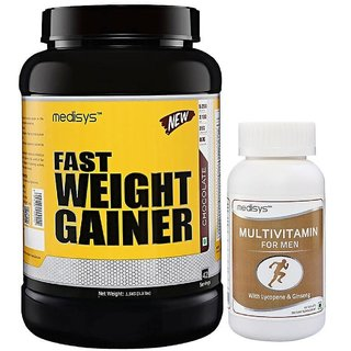 Medisys Fast Weight Gainer - Chocolate - 1.5Kg Free-Multivitamin