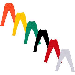 Kavya Baby Girls Cotton Solid Leggings (Pack Of 6)
