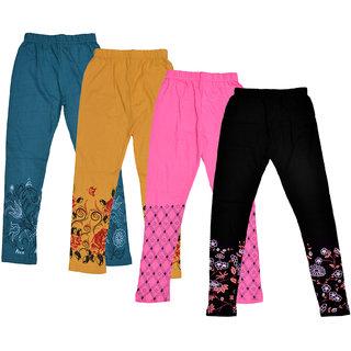 Kavya Girls's Cotton Printed Leggings (Pack Of 4)