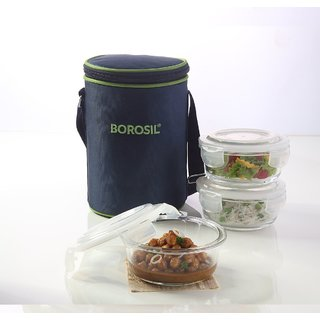 Borosil Klip N Store Microwavable Containers with Lunch Bag, 400ml, Set of 3, Transparent Lunch Boxes