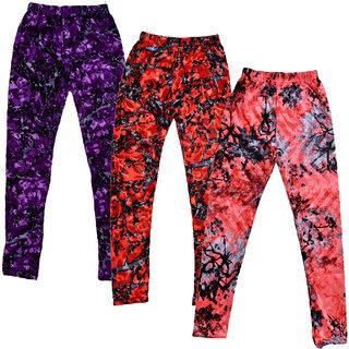 Kavya Girls Velvet Printed Leggings (Pack Of 3)