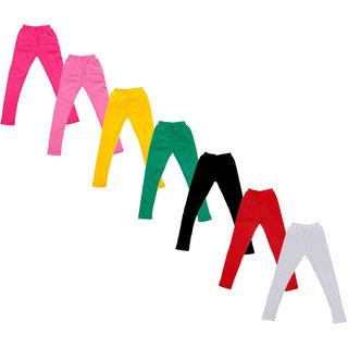 Kavya Baby Girls Cotton Solid Leggings (Pack Of 7)