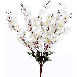 Golden Cart Beautiful Artificial Peach Blossom Flower 55 cm (Bunch of 7, White)