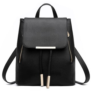 Styler king Women Girls Ladies Backpack Fashion Shoulder Bag Rucksack PU Leather Travel bag (black)