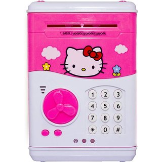 Shribossji Hello Kitty Piggy Savings Bank With Electronic Lock, Automatic Notes, Coin Deposit Atm Bank For Kids