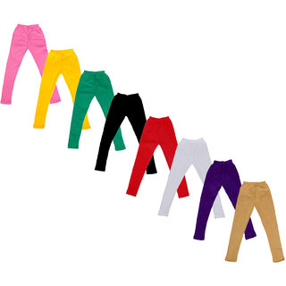 Kavya Baby Girls Cotton Solid Leggings (Pack Of 8)