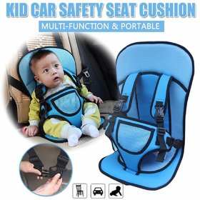 Multi-function Adjustable Baby Car Cushion Seat with Safety Belt - For Babies  (Multicolor)
