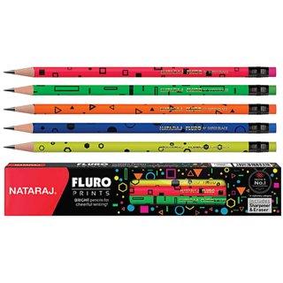 Nataraj Fluro Prints Pencil / Rubber Tipped Pencil / Pack of 50 Pencils / 5 sets / Designer Pencils