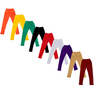 Kavya Baby Girls Cotton Solid Leggings (Pack Of 9)