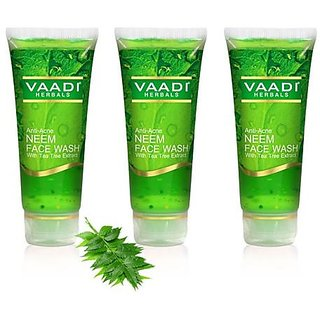Vaadi Herbals Anti acne Neem Face Wash with Tea Tree Extract (60 ml x 3)