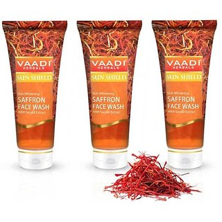 Vaadi Herbals Skin Whitening Saffron Face Wash with Sandal Extract (60 ml X 3)