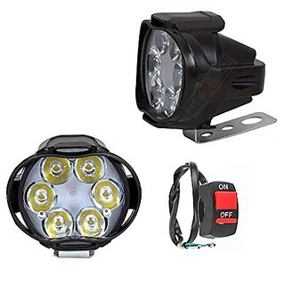 Autostark 6 LED Fog Light Mirror Mount Driving Spot Head Lamp with Switch for Motorcycle for Yamaha Alpha