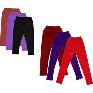 Kavya Girls Cotton Solid 3/4Th Capri And Solid Legging (Pack Of 6)