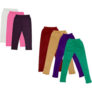 Kavya Girls Cotton Solid 3/4Th Capri And Solid Legging (Pack Of 7)