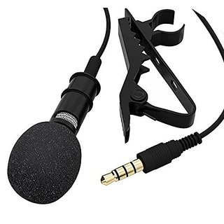 Fleejost Professional Mini Lavalier Lapel Microphone 3.5mm Omnidirectional Condenser Clip On Noice Cancelling Lav Mic- B