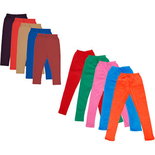 Kavya Girls Cotton Solid 3/4Th Capri And Solid Legging (Pack Of 10)