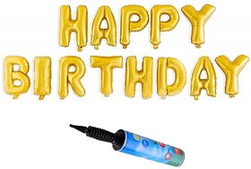 De-Ultimate Set Of Inflator Balloons Air Pump And Happy Birthday Alphabet Foil Balloons For Birthday Parties Decorations