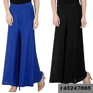 Combo Of 2 Casual Poly Cotton Plain Palazzo (Black And Royal Blue)