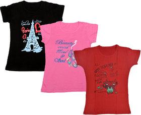 Kavya Girls Cotton Half Sleeves Printed T-Shirts Pack Of 3