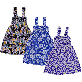 Kavya Baby Girls Cotton Sleevless Printed Frock  (Pack Of 3)