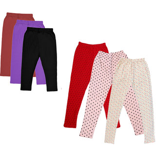 Kavya Girls Cotton Solid 3/4Th Capri And Printed Legging (Pack Of 6)