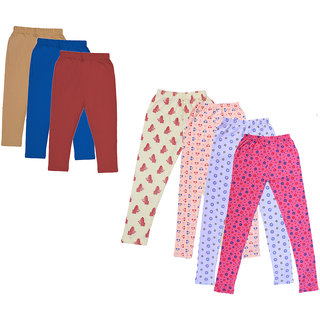 Kavya Girls Cotton Solid 3/4Th Capri And Printed Legging (Pack Of 7)