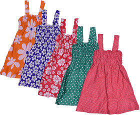 Kavya Baby Girls Cotton Sleevless Printed Frock  (Pack Of 5)
