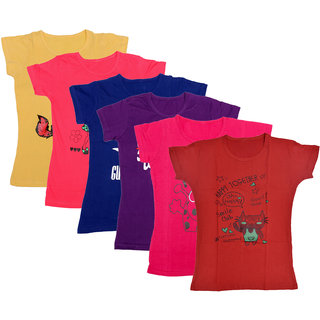 Kavya Girls Cotton Half Sleeves Printed T-Shirts Pack Of 6
