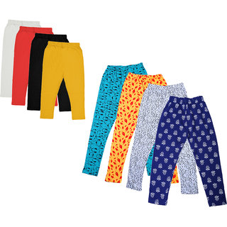 Kavya Girls Cotton Solid 3/4Th Capri And Printed Legging (Pack Of 8)