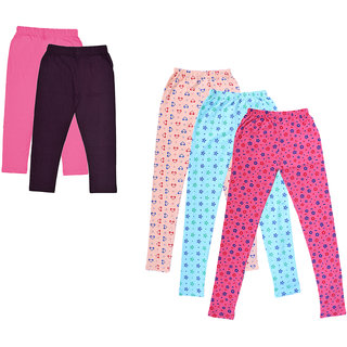 Kavya Girls Cotton Solid 3/4Th Capri And Printed Legging (Pack Of 5)