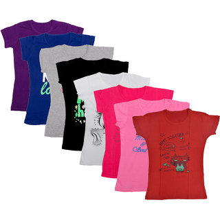 Kavya Girls Cotton Half Sleeves Printed T-Shirts Pack Of 8