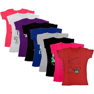 Kavya Girls Cotton Half Sleeves Printed T-Shirts Pack Of 9