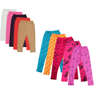 Kavya Girls Cotton Solid 3/4Th Capri And Printed Legging (Pack Of 10)