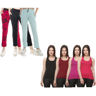 IndiWeaves Women Cotton Tank Top and Lower (Pack of 7)