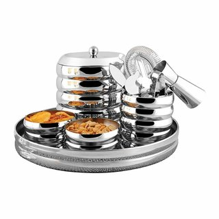 Shri Sam High Grade Stainless Steel Ribbed Bar Set 9-Pieces Silver