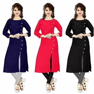 Aiza collection multicoloured crepe designer kurti combo pack of three