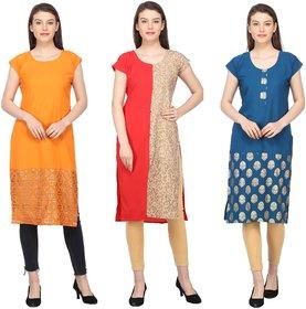 Aiza collection multicoloured crepe designer kurti combo pack of three