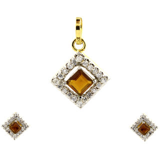 Be You Gorgeous Dark Yellow Color Cubic Zirconia Real Look Gold Plated Brass Earring & Pendant Set for Women