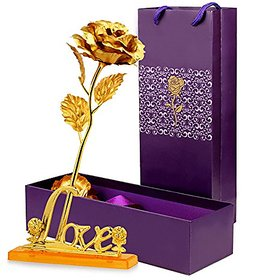 IndiRocks 24K Golden Rose with Love Stand, Gift Box and Carry Bag - Best Birthday Gifts Gold Dipped Rose-With Love Stand