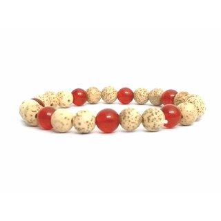 Tibetan Auspecious Lotus Seed  Carnelian Crystal Power 8 mm Stretch Bracelet, Lotus Seed Wrist Mala, Lotus Seed Bracelet
