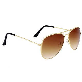 Ivy Vacker Brown & Gold UV Protection Free-Size Full Rim Metal Aviator Sunglasses