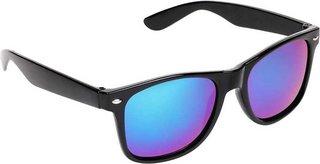 Blue Mirrored Wayfarer Sunglasses for Men/Women's