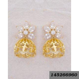 Cz Embellished Lovely Floral Swarnam Jhumka Earrings For Women