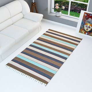 Christy's Collection Cotton Multicolor Striped Pattern Area Rug's (72 x 35cm) (Pack of 1)