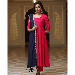 Fabdiwa Fashion latest designer pink Rayon Anarkali suit with amazing bordered dupatta